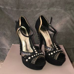 Bakers black high heels with sequins and studs